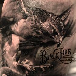 hawk black and grey tattoo