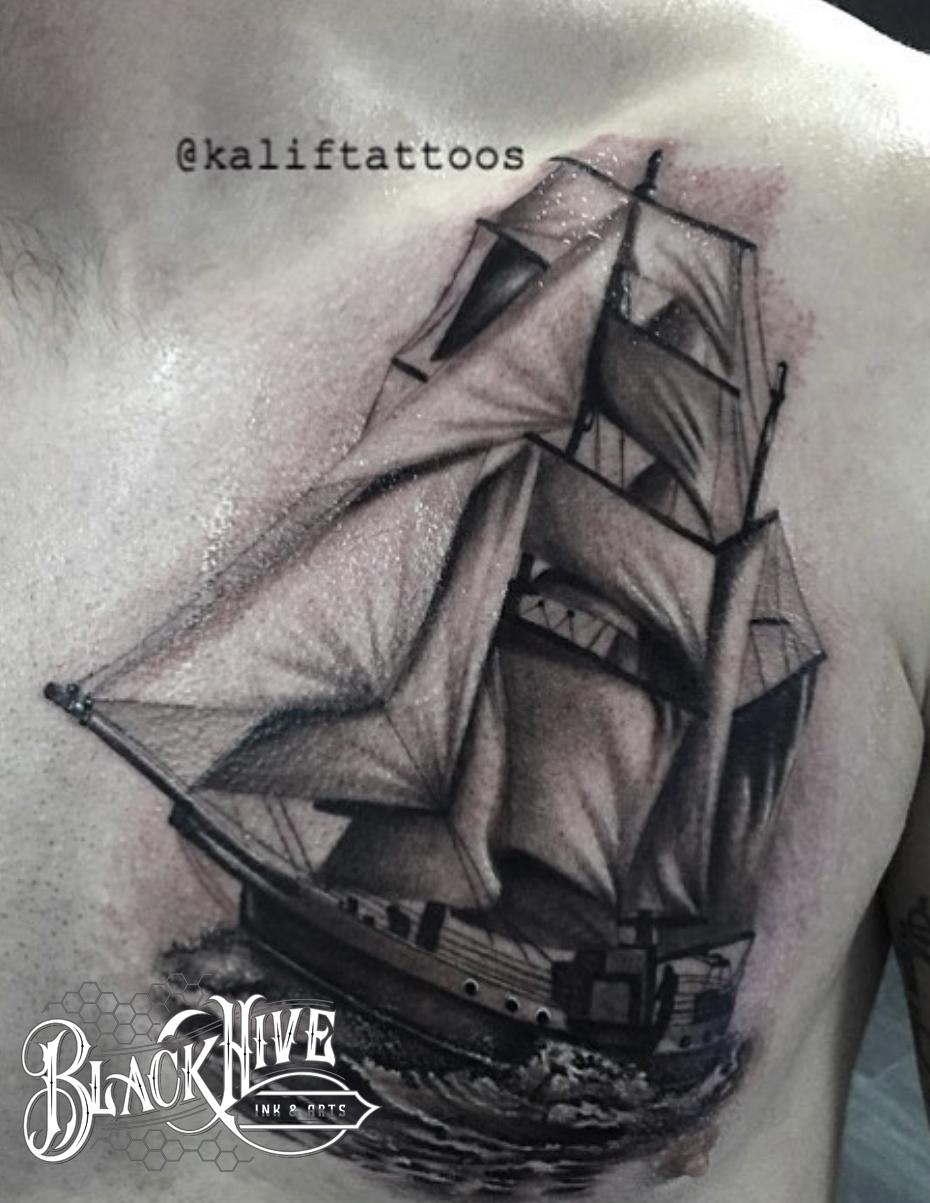 ship tattoo black and grey tattoo