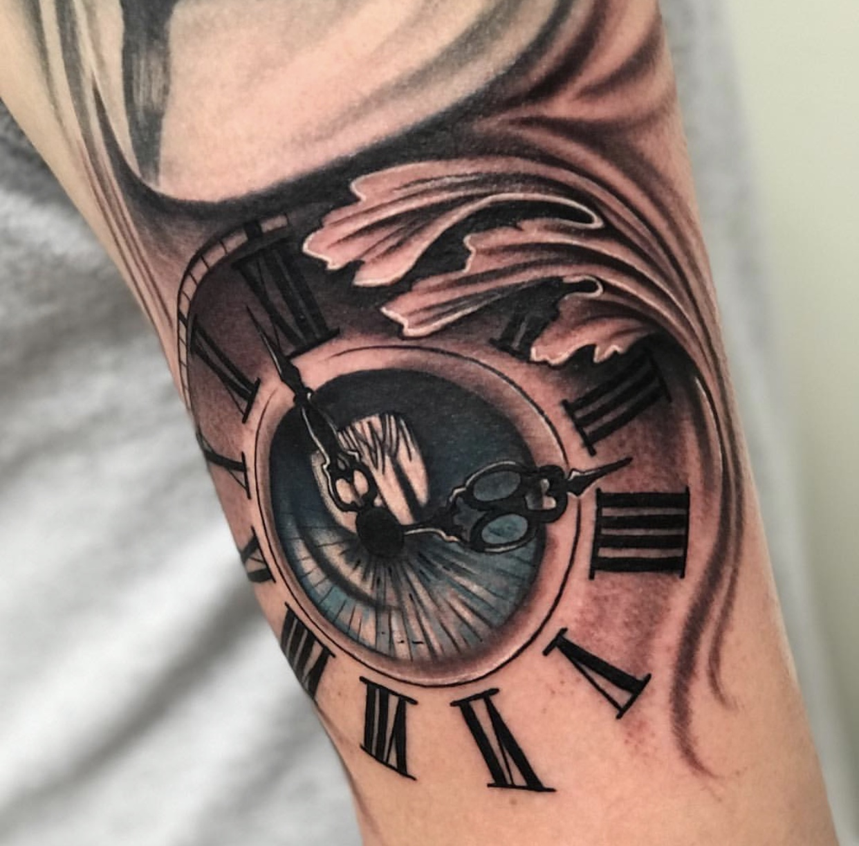 eye clock tattoo