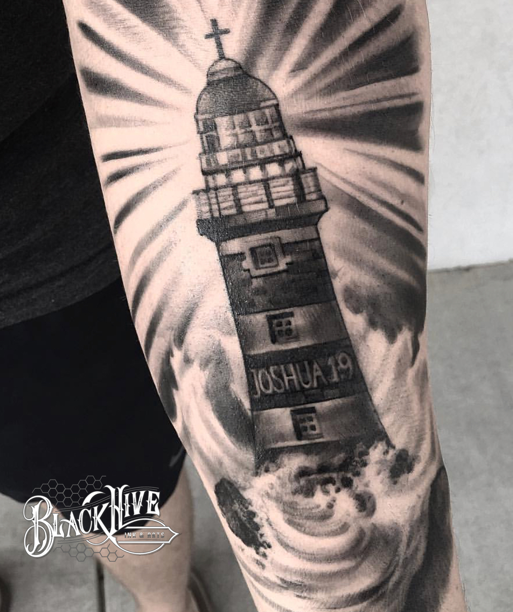 light housr black and white tattoo