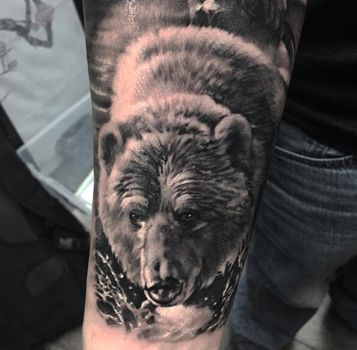 bear tattoo best realism
