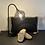 Thumbnail: Lampe de Table Métallique Globe Verre Fumé