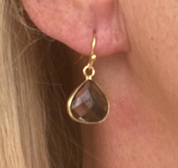 Boucles d'oreilles Petites Gouttes Crystal Fumé