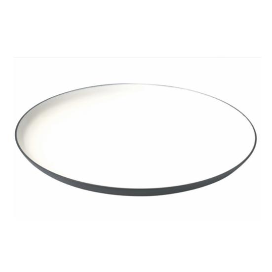 Assiette de présentation ronde en Aluminium Ardoise, intérieur en émail blanc