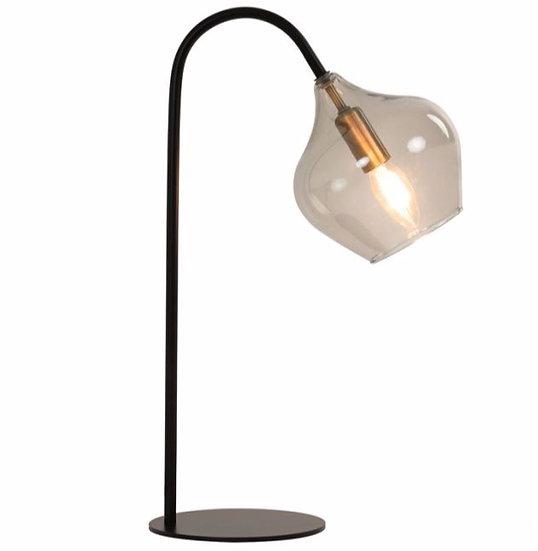 Lampe de Table Métallique Globe Verre Fumé