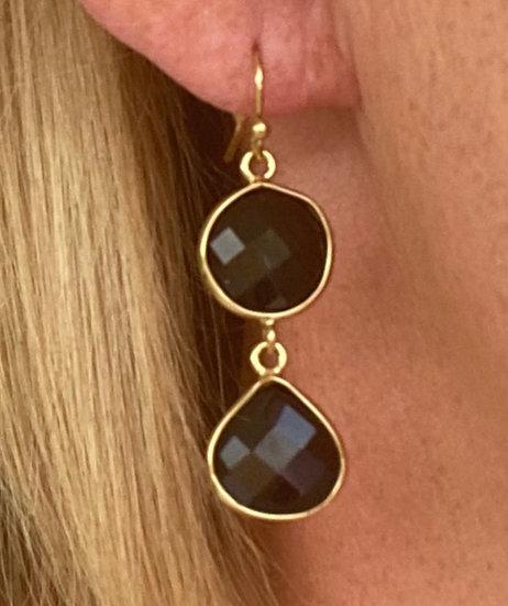 Boucles d'oreilles Double Crystal Noir