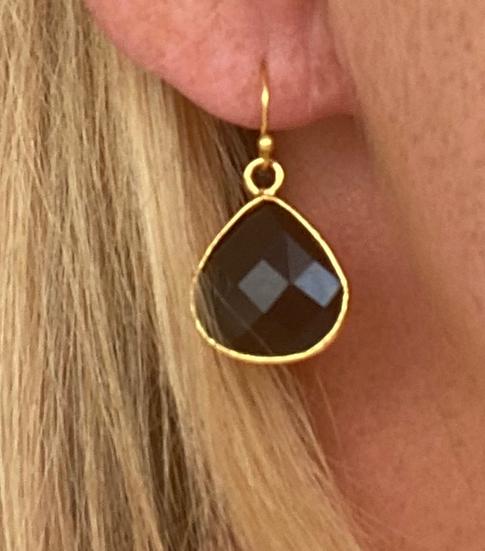 Boucles d'oreilles Gouttes Crystal Noir