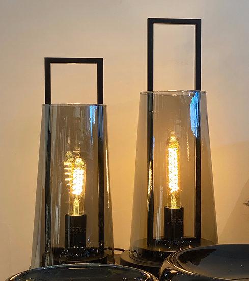 Lampe Lanterne Verre Fumé Noir Basse