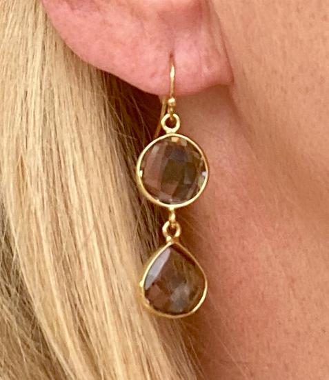 Boucles d'oreilles Double Crystal Fumé