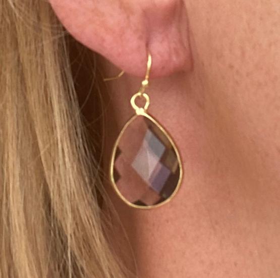Boucles d'oreilles Gouttes Crystal Fumé
