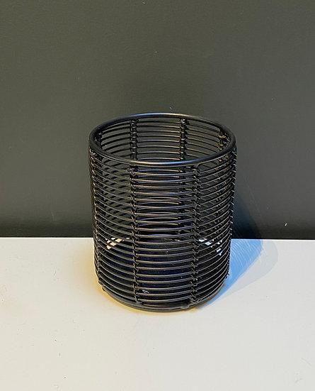 Photophore Acier Noir Cylindre Bas