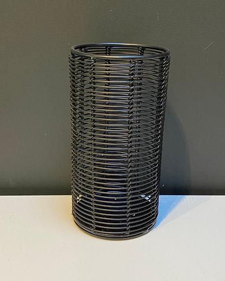 Photophore Acier Noir Cylindre Haut