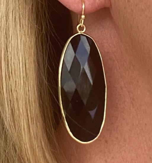 Boucles d'oreilles Long Crystal Noir