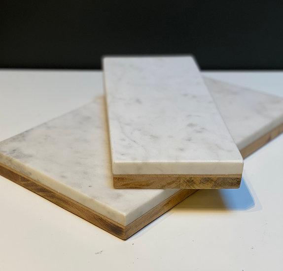 Planche Marbre Blanc et Bois Bi-Matière