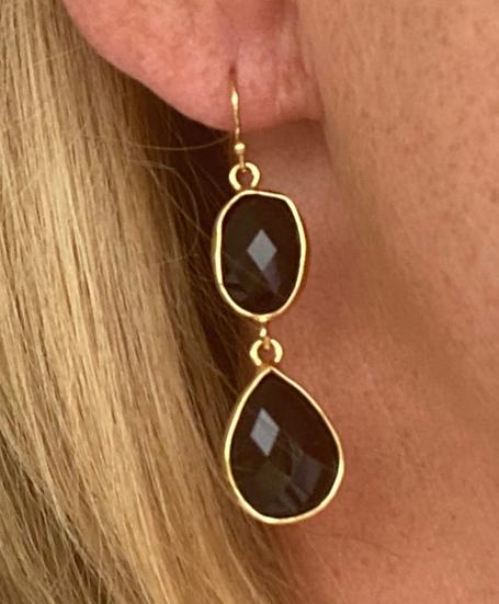 Boucles d'oreilles Double Crystal Noir Long