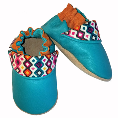 Turquoise Moccasins Front & Side View