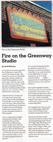 Jon Loer and Fire on the Greenway Studios featured in the Lyndale Neighborhood Newspaper