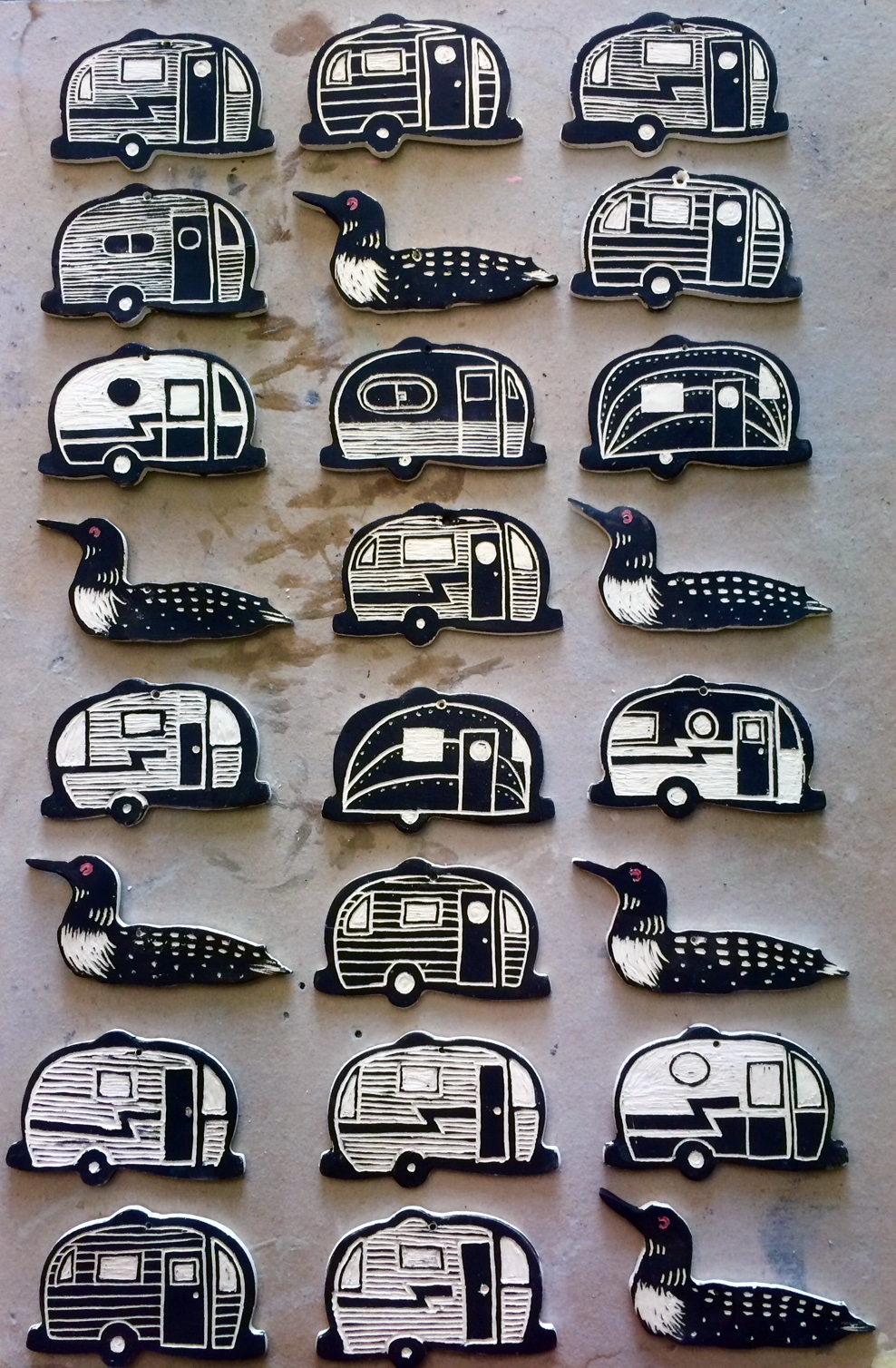 Trailer and Loon Magnets