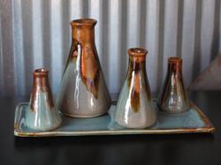 slip cast bottles and tray