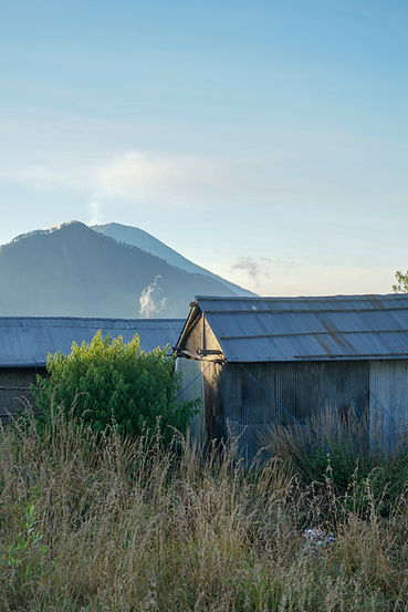 THE LONE HUT AND THE FIERY VOLCANO [BALI