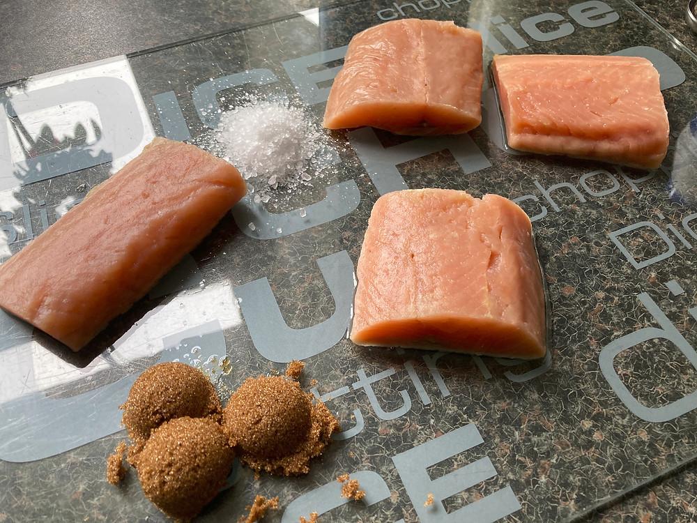 Pink salmon portions, brown sugar and sea salt