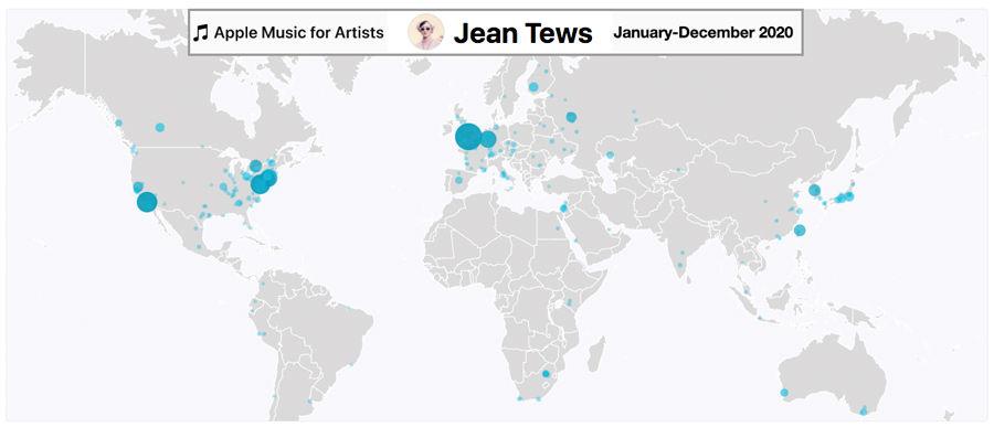 Jean Tews Apple Music International Airplay Jan-Dec 2020