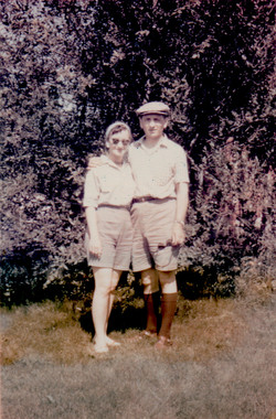 Jean and Lothar in their garden