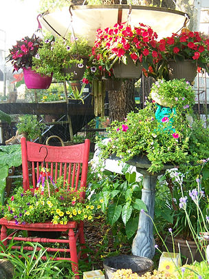 Bird bath chair hanging pots.jpg