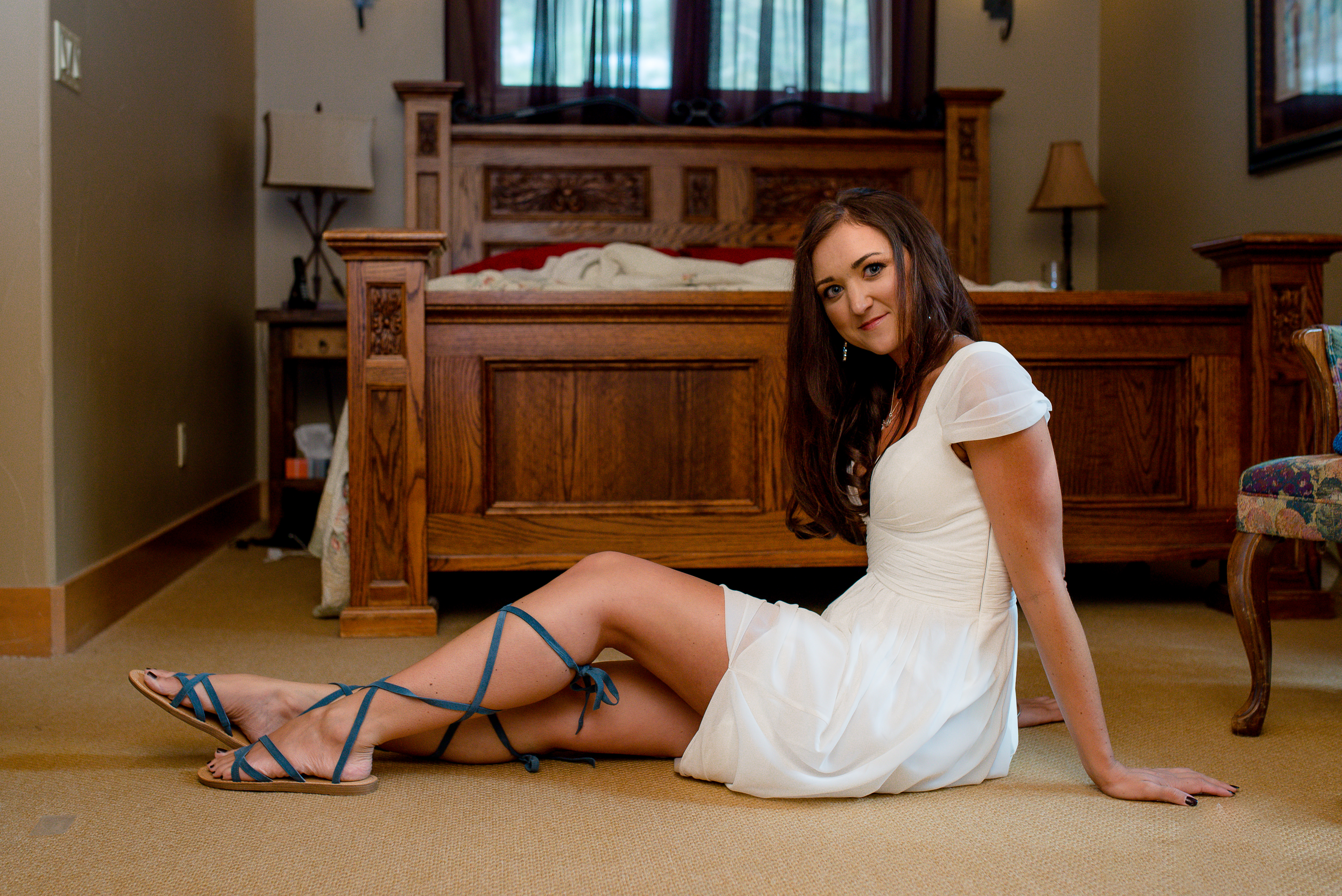 Bride with lace up shoes