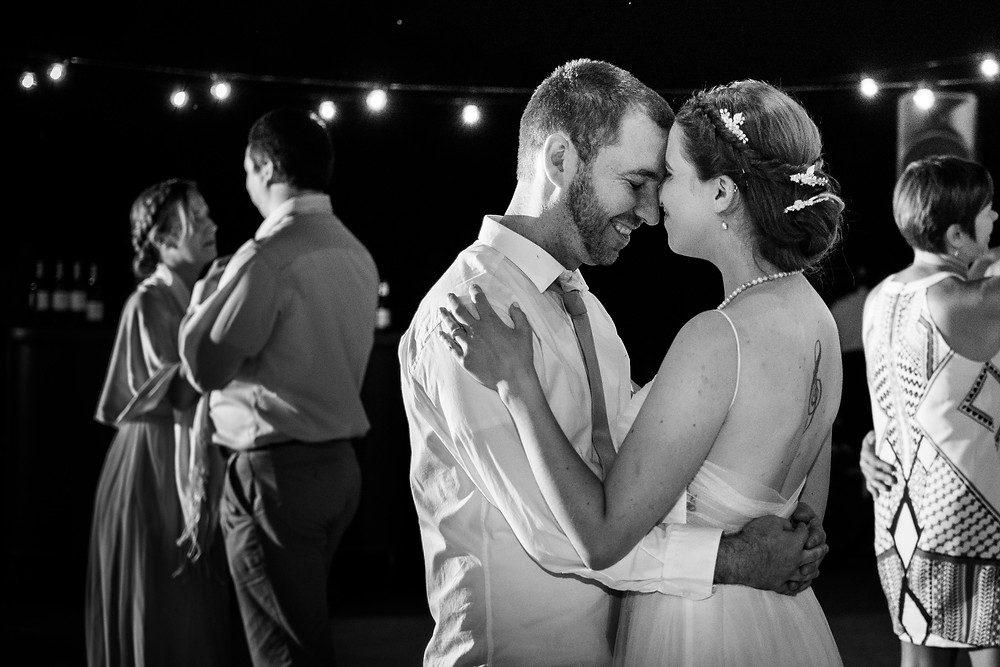Bride and groom dancing black and white at Westminster Butterfly Pavillion