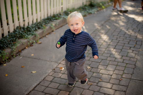 Toddler boy running