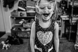 Little girl wearing goggles