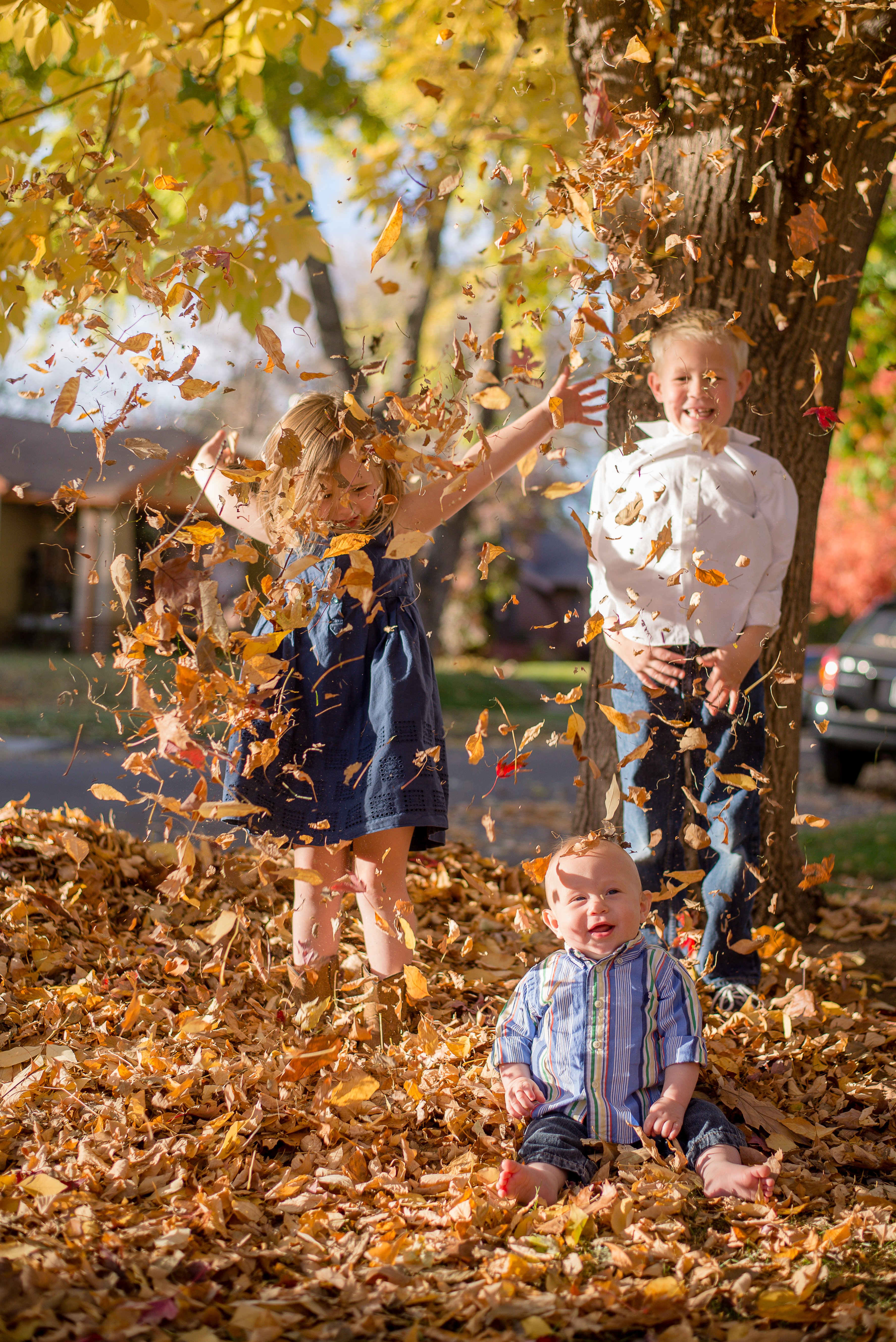 Girl, boy and baby throw fall leaves