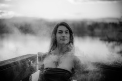 Black and white woman in smoke