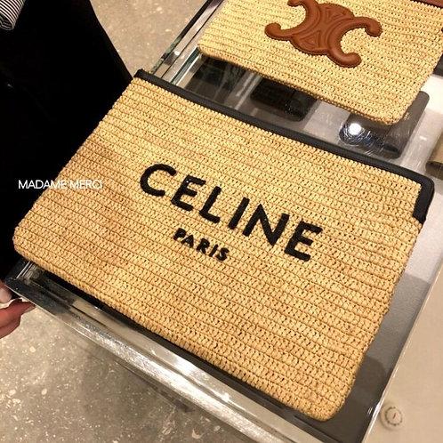 "【CELINE】""CELINE"" Logo × Large Pouch"