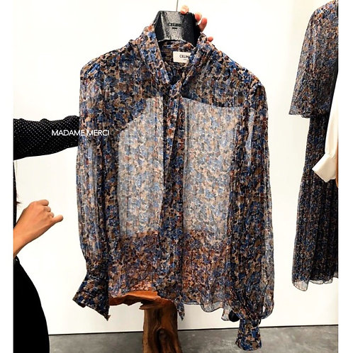 【CELINE】PRINTED LAMED SILK LAVALLIERE BLOUSE