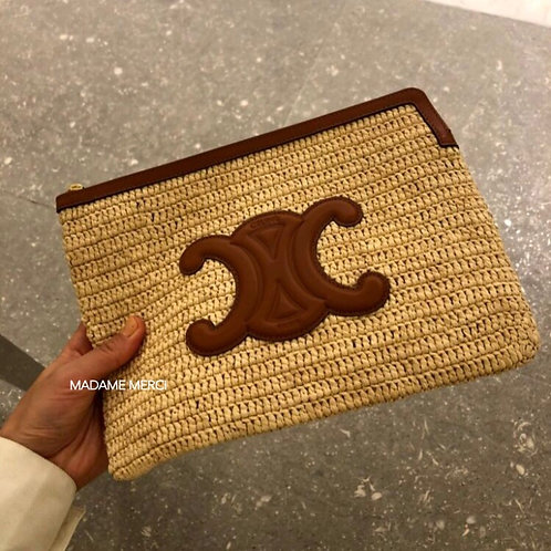 【CELINE】Small pouch × Raffia And Leather