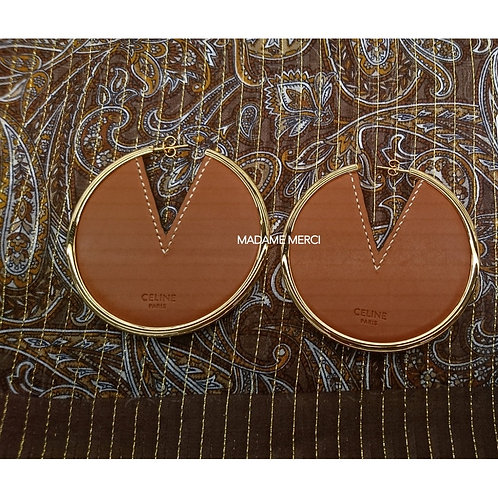 【CELINE】Crecy Brass and leather earrings