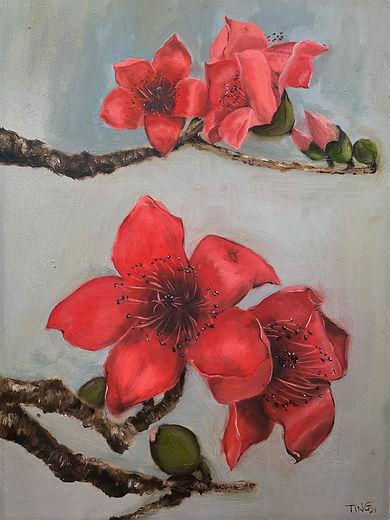 Red Kapok Flower No. 2, oil on panel-Tin