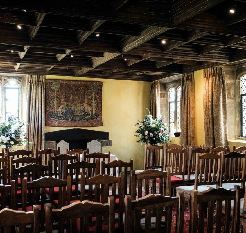 Room at Bailiffscourt Hotel set up for a wedding ceremony