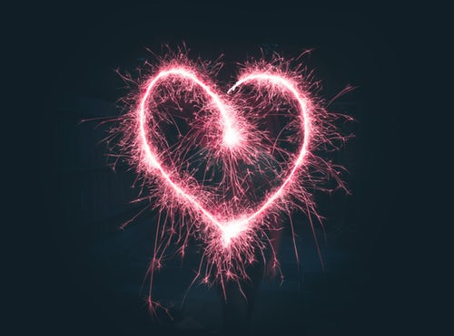 Heart shape made by sparklers