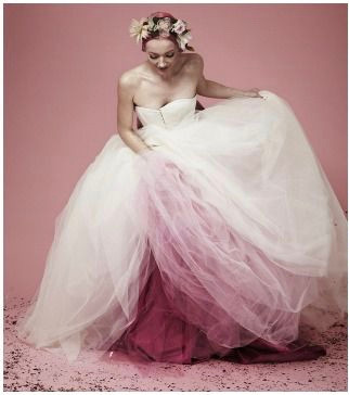 Bride in white dress with pink petticoats