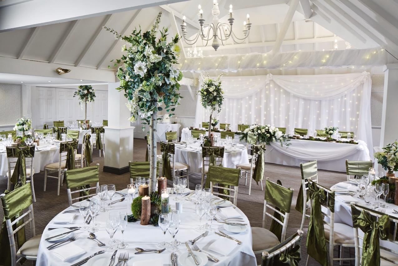 Rowhill Grange wedding venue dressed for wedding reception