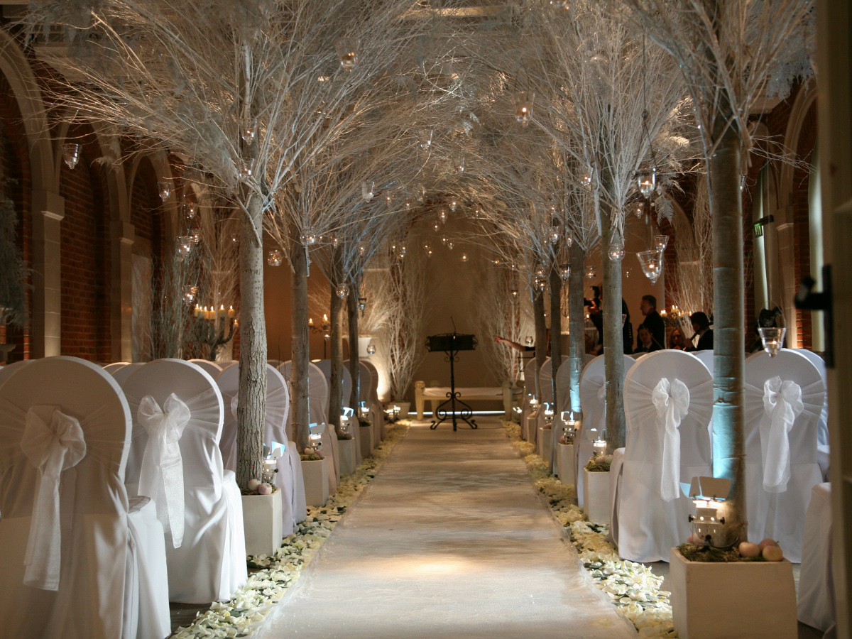The Orangery at Great Fosters decorated for a winter wedding ceremony