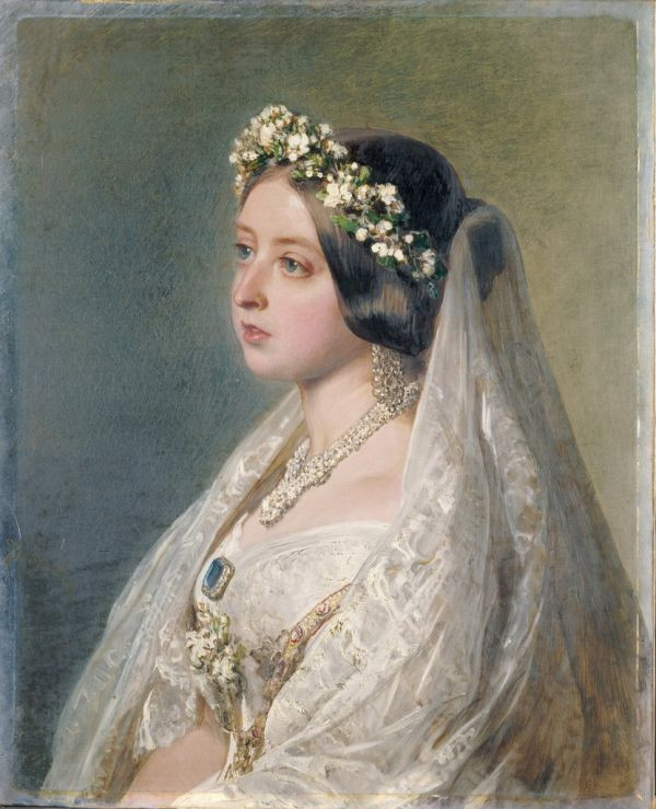 Portrait of Queen Victoria in her wedding dress