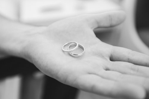 Hand holding two wedding rings