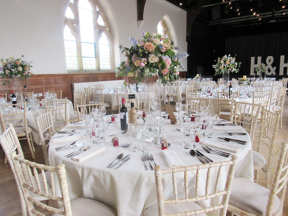 The Under at Ardingly College Sussex wedding venue set for a wedding reception