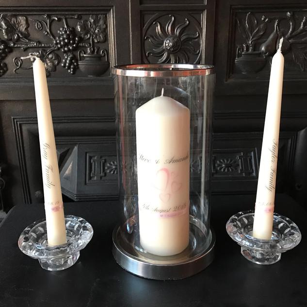 Personalised unity candles for celebrant wedding ceremony