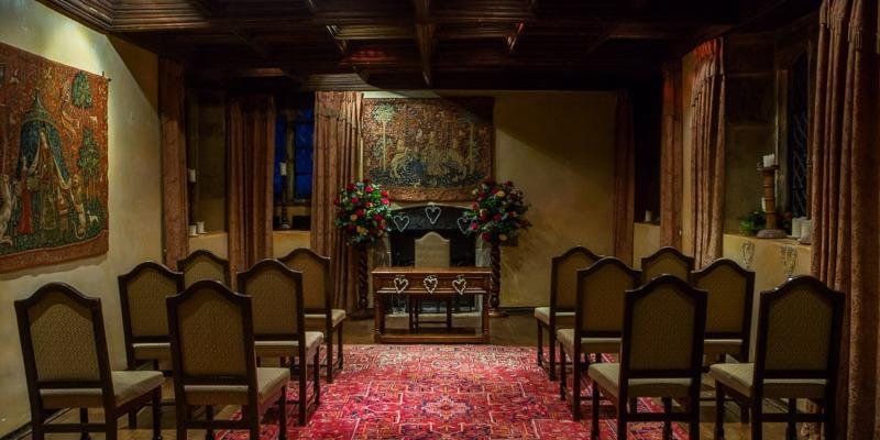 Music Room at Bailiffscourt Hotel set up for wedding ceremony