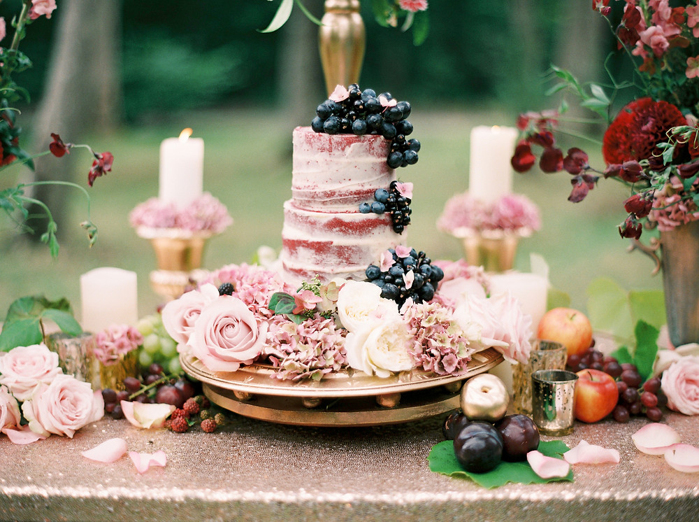 Cake table at outdoor wedding with naked sponge cake, decorated with black grapes and fresh flowers